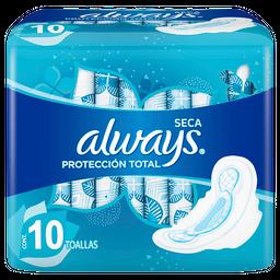 Toallas Femeninas Always Seca Protección Total 10 U
