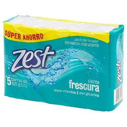 Jabón Zest Aqua Vitamina E Con Glicerina Barra 100 g x 5