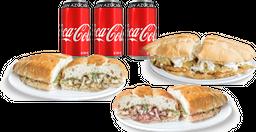 Envío Gratis: 3 Tortas + 3 Coca-Cola Sin Azúcar