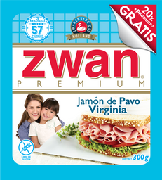 Jamón de Pavo Zwan Virginia Premium 250 g