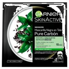 Mascarilla Negra garnier En Tela Pure Carbón 1 U