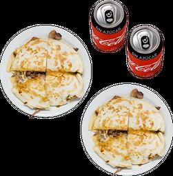 Envío Gratis: 2 Gringas al Pastor + 2 Coca-Cola Sin Azúcar
