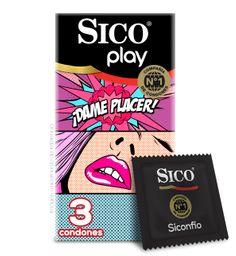 Condones Sico Play Dame Placer Látex Natural Texturizado 3U