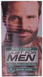 Tinte Just For Men Para Barba y Bigote Castaño Oscuro