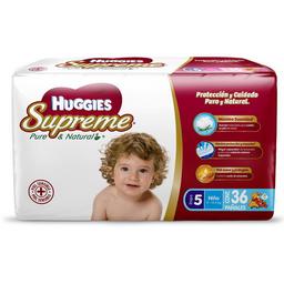 Pañales Huggies Supreme  Pure & Natural Etapa 5 Niño 36 U