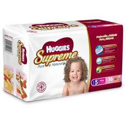 Pañales Huggies Supreme Pure & Natural Etapa 5 Niña 36 U