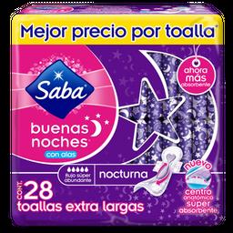 Toallas Femeninas Saba Buenas Noches Con Alas Nocturna 28 U