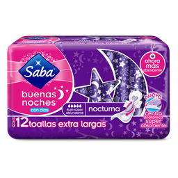 Toalla Femenina Saba Buenas Noches Extra Larga Con Alas 12 U