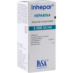 Inhepar Heparina inyección 5 mL Solución Frasco