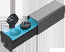 Audífonos Bluetooth TWS Manos Libres Base De Carga Azul
