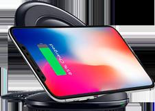 Cargador Inalámbrico Tecnología Qi tipo Stand, iPhone y Samsung