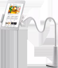 Holder Flexible y Soporte tipo Pinza para Tablet Blanco