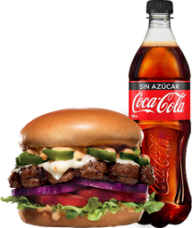 ENVĪO GRATIS: Jalapeño Thickburger 1/3  + Coca-Cola sin Azúcar