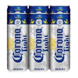 Cerveza Corona Ligtht Latón 473 mL x 6