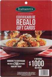 Certificado De $1000 Restaurante Italiannis