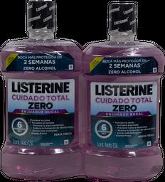 Enjuague Bucal Listerine Zero Sin Alcohol Total Care 1.5 L x 2