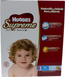 Pañal Huggies Supreme Pure & Natural Etapa 5 Niño 120 U