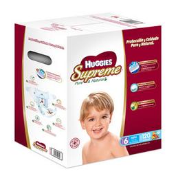 Pañal Huggies Supreme Pure & Natural Etapa 6 Niño 120 U