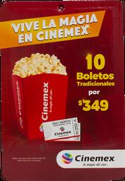 Certificado De Regalo Tarjeta 10 Boletos Cinemex
