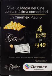 Certificado De Regalo Tarjeta Con 4 Boletos Cinemex Platino