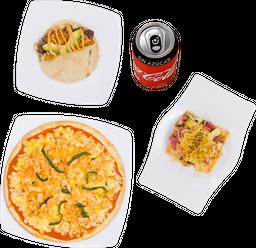 Quesitaco + Pizza Gobernador + Tostada + 2 Coca-Colas sin Azúcar