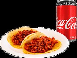 Envío Gratis: 2 Tacos al Pastor + Coca-Cola Sin Azúcar
