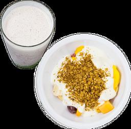 Vaso de Fruta con Yogurt y Granola + Licuado