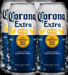 Combo 4 Corona Extra Laton 473Ml