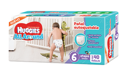 Pañal Huggies All Around Unisex Etapa 6 Autoajustable 40 U