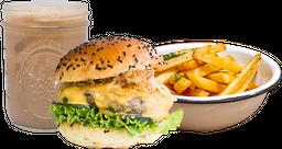 Hamburguesa Double Cheese + Papas + Maltada a elección