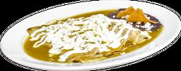 Enchiladas con Pollo con Frijoles Refritos