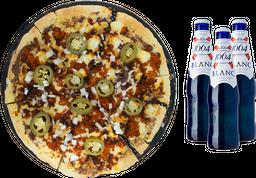 Pizza Grande Ranchera + 3 cervezas Blanc