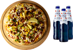 Pizza Grande de Pastor + 3 cervezas Blanc