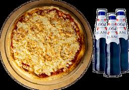 Pizza Grande de Pepperoni + 3 cervezas Blanc