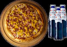 Pizza Grande Hawaiana + 3 cervezas Blanc