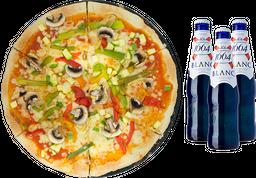 Pizza Grande de Fughi con Verdura + 3 cervezas Blanc