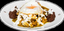 Chilaquiles con Salsa Verde Asada al Habanero con Huevo (1 pza)