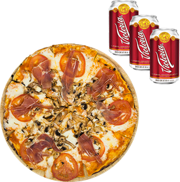 Pizza Americana + Pack de cervezas al 20% OFF