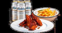 Promo para uno: Chicken tender + papas + pack de cervezas