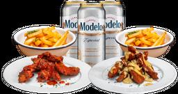Promo para Dos: dos principales + dos papas + pack de cervezas