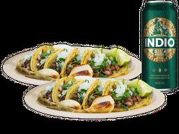 10 Tacos + un Latón de Cerveza GRATIS