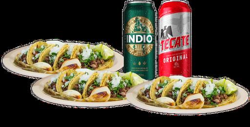 15 Tacos + 2 Latones de Cerveza
