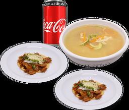 Consomé Pollo + 2 Tacos Pastor + Coca-Cola sin azúcar