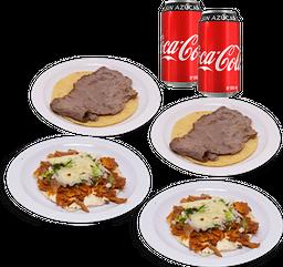 2 Tacos Bistec + 2 Gringas Pastor + Guacamole + 2 Coca-Colas