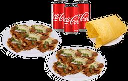 10 Pastor + Chicharrón de Queso + 3 Coca-Colas