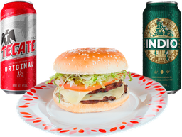 🍔 4 Hamburguesas + 2 Latones de Cerveza GRATIS