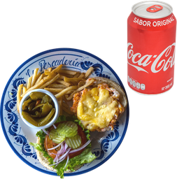 Hamburguesa de Camarón + Papas + Refresco