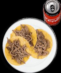 3 Tacos de Arrachera + Coca Cola sin Azúcar