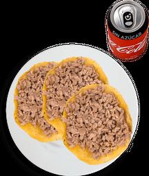 3 Tacos de Bistec + Coca Cola sin Azúcar
