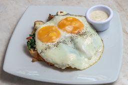 Huevos a Cheval Espinaca Tocino